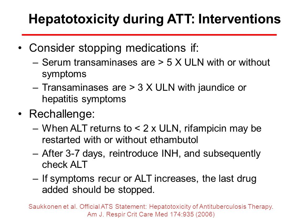 Hepatotoxicity during ATT: Interventions