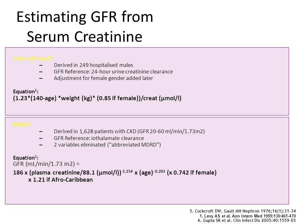 Estimating GFR from Serum Creatinine