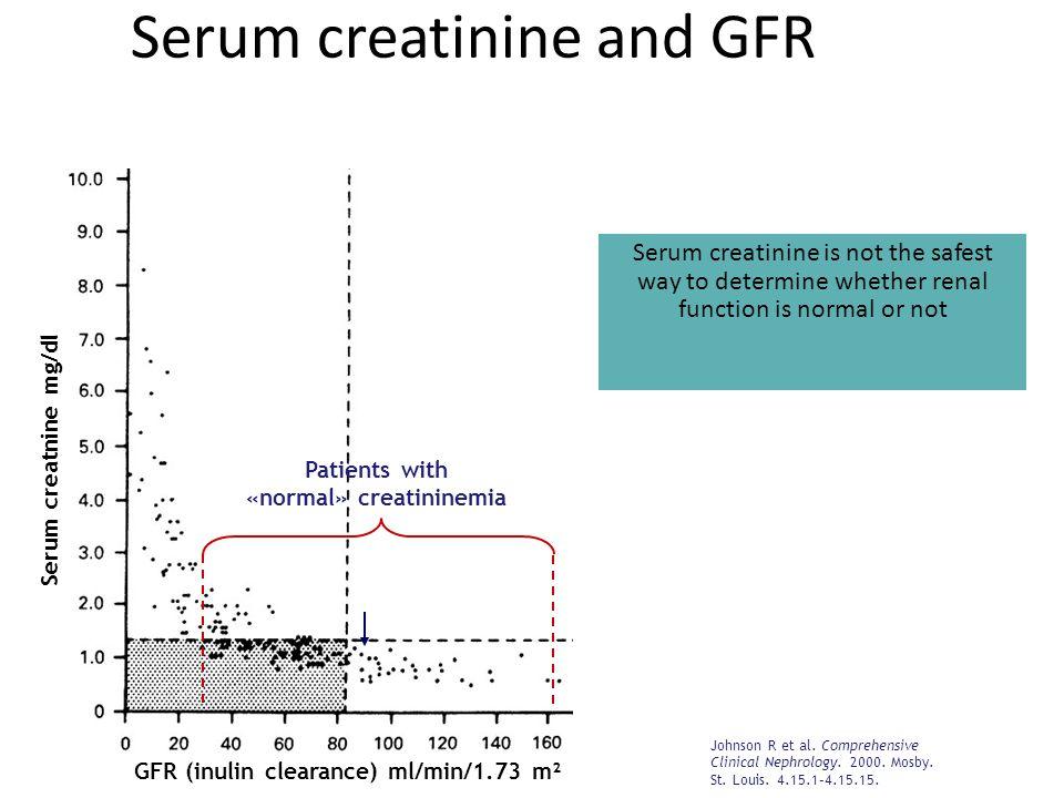 Serum creatinine and GFR