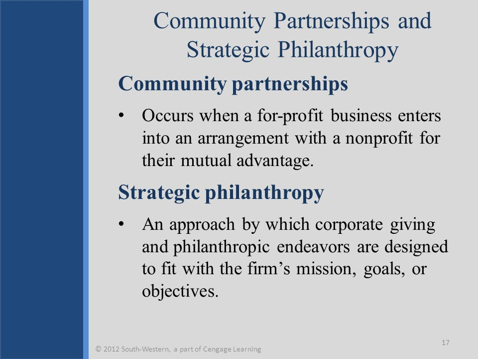 Community Partnerships and Strategic Philanthropy