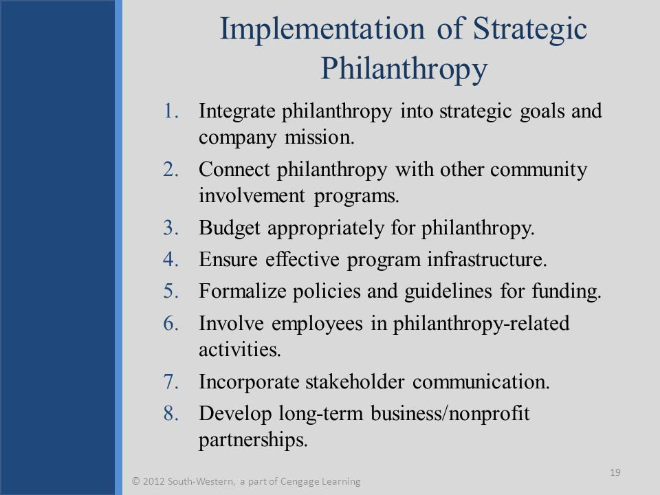 Implementation of Strategic Philanthropy