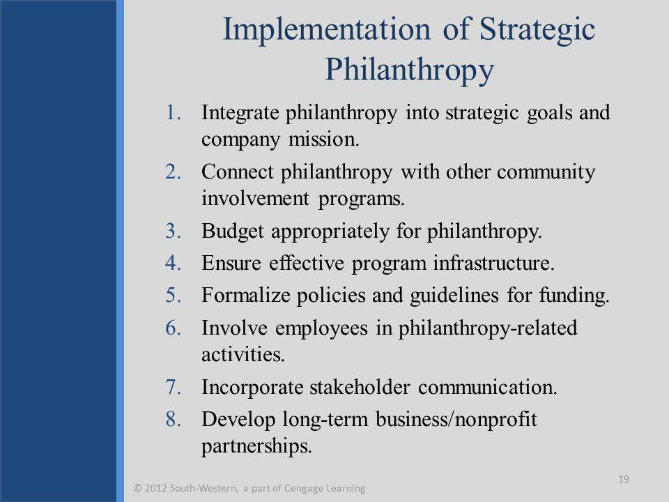 Implementation of Strategic Philanthropy
