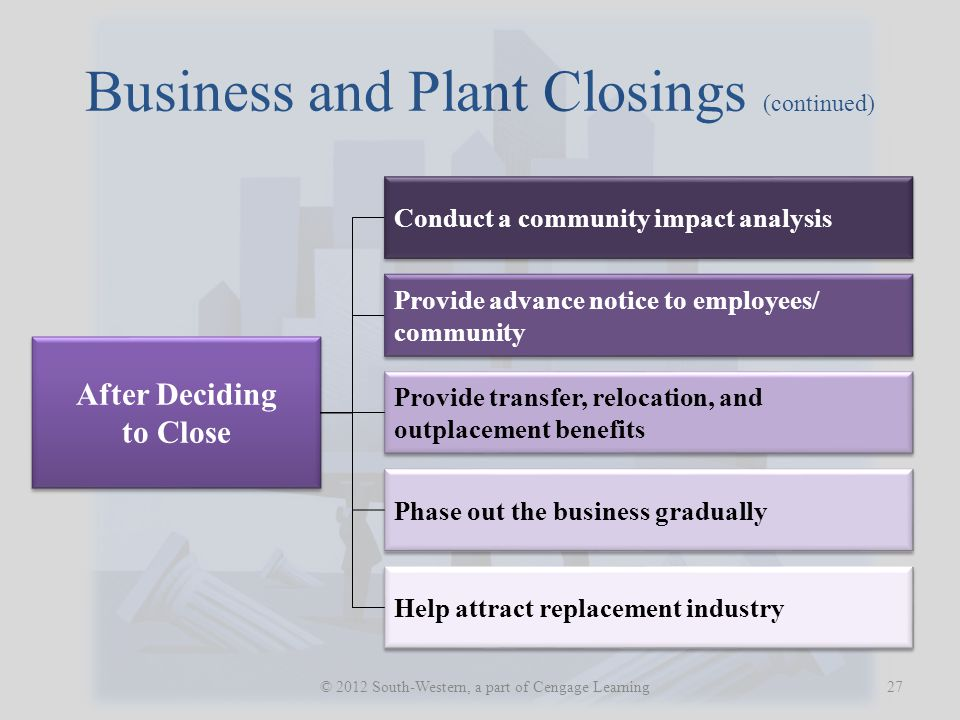 Business and Plant Closings (continued)