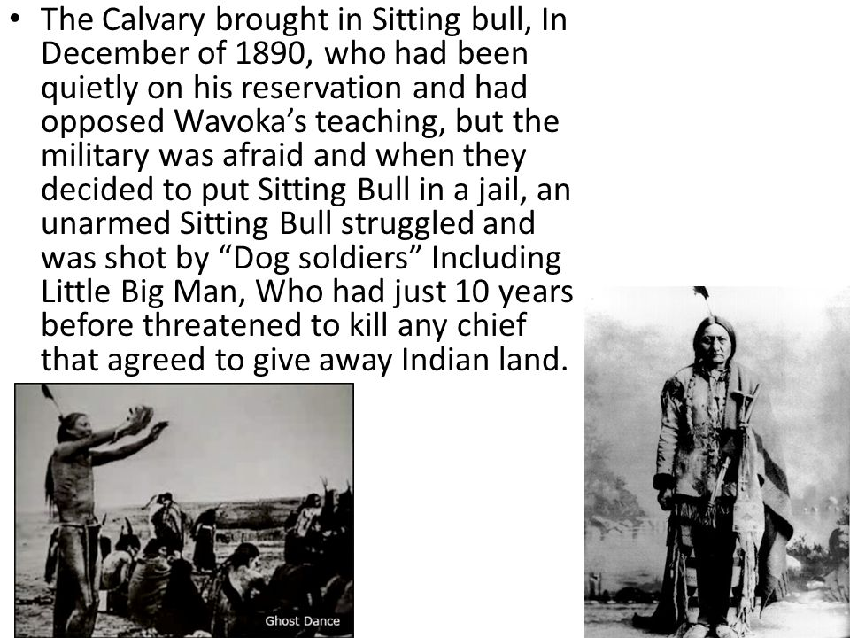The Calvary brought in Sitting bull, In December of 1890, who had been quietly on his reservation and had opposed Wavoka's teaching, but the military was afraid and when they decided to put Sitting Bull in a jail, an unarmed Sitting Bull struggled and was shot by Dog soldiers Including Little Big Man, Who had just 10 years before threatened to kill any chief that agreed to give away Indian land.