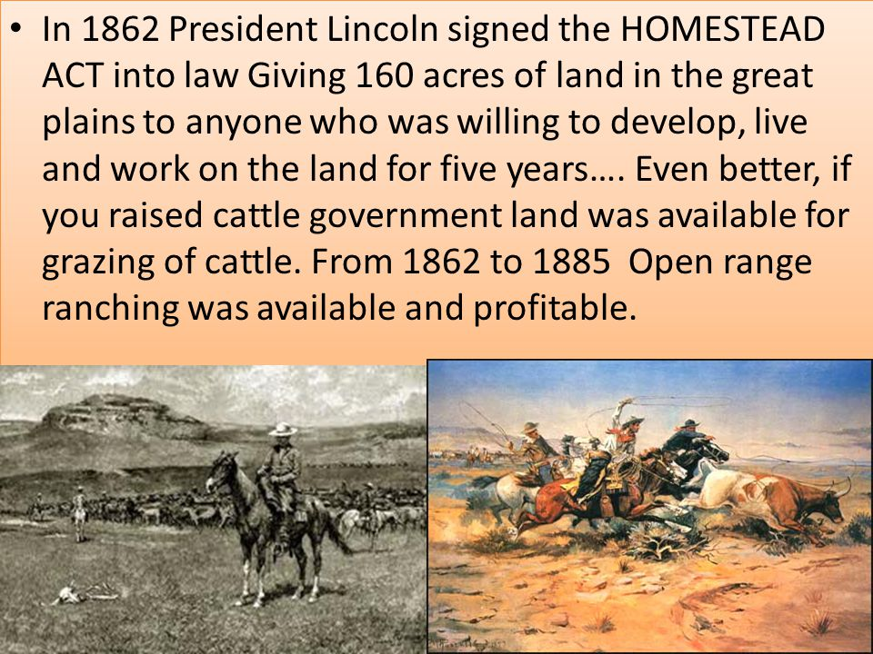 In 1862 President Lincoln signed the HOMESTEAD ACT into law Giving 160 acres of land in the great plains to anyone who was willing to develop, live and work on the land for five years….