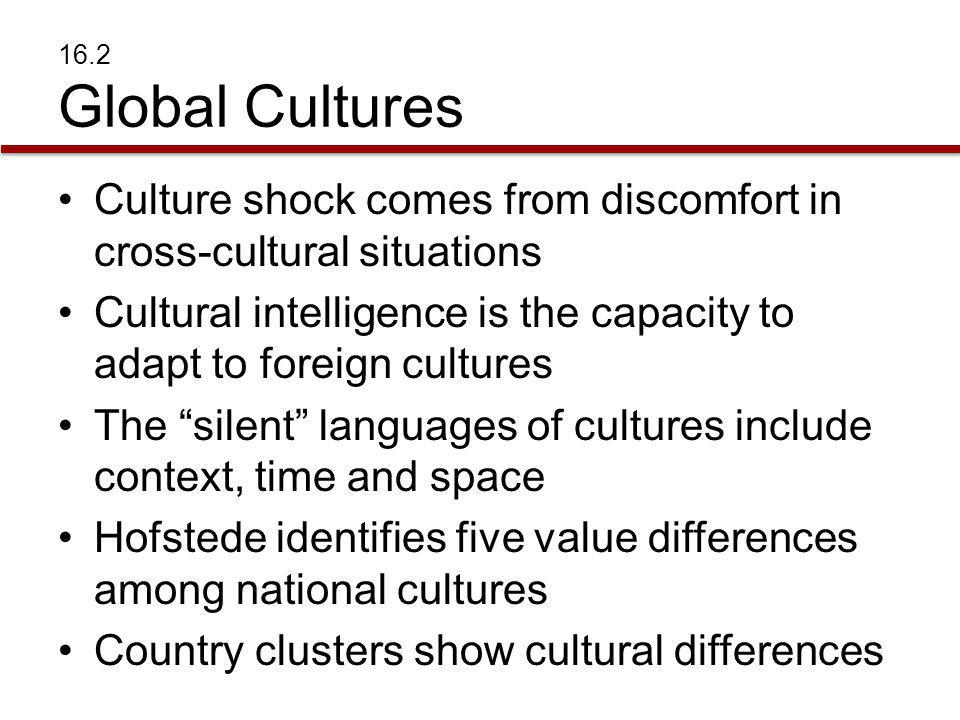 Culture shock comes from discomfort in cross-cultural situations