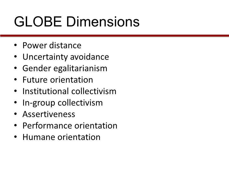 GLOBE Dimensions Power distance Uncertainty avoidance
