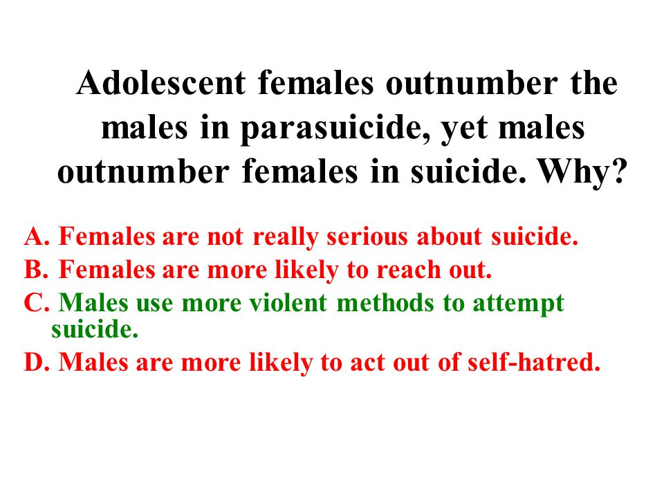 Adolescent females outnumber the males in parasuicide, yet males outnumber females in suicide. Why