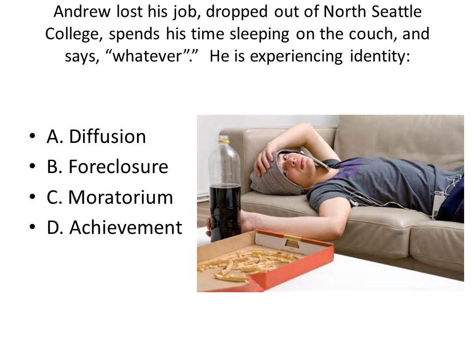 A. Diffusion B. Foreclosure C. Moratorium D. Achievement