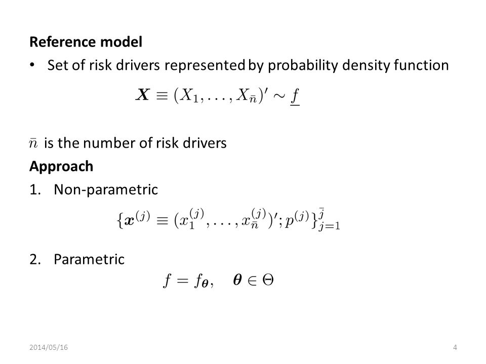 Set of risk drivers represented by probability density function