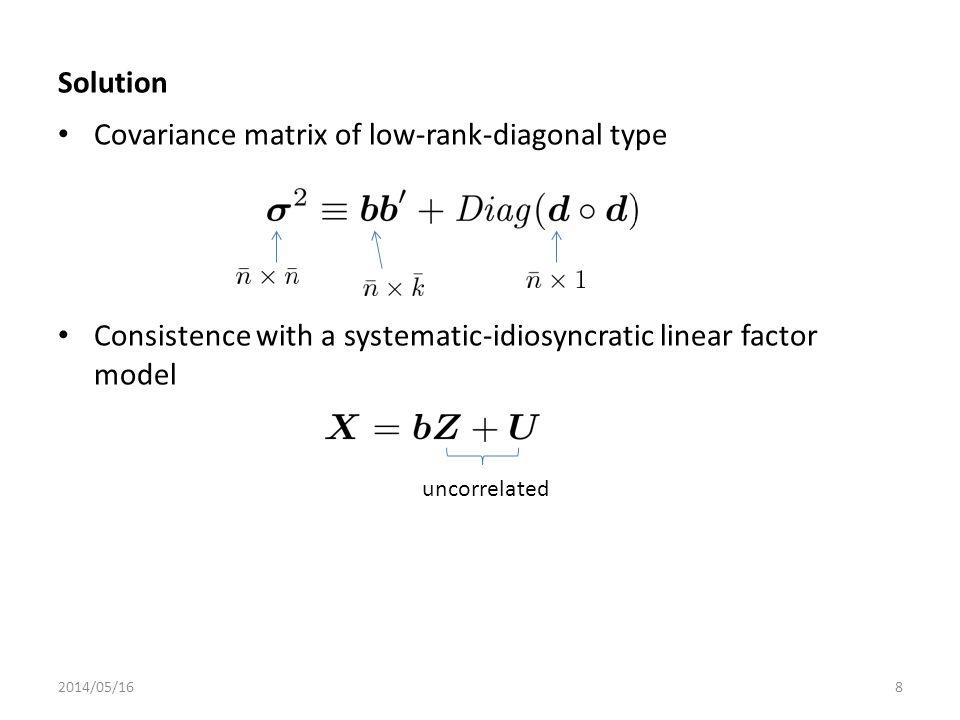 Covariance matrix of low-rank-diagonal type