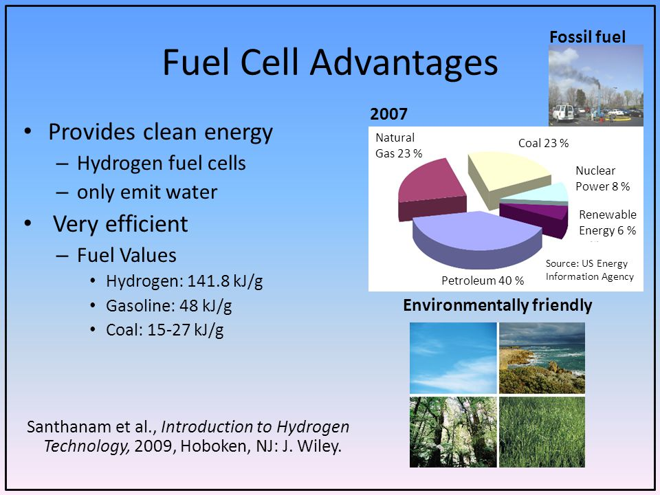 Fuel Cell Advantages Provides clean energy Very efficient