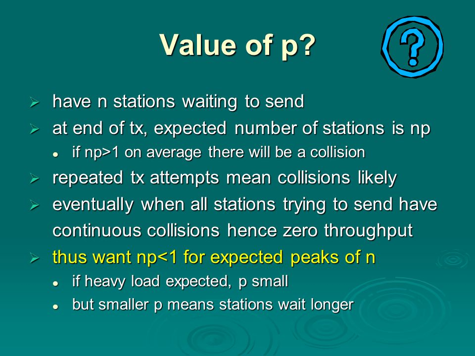 Value of p have n stations waiting to send