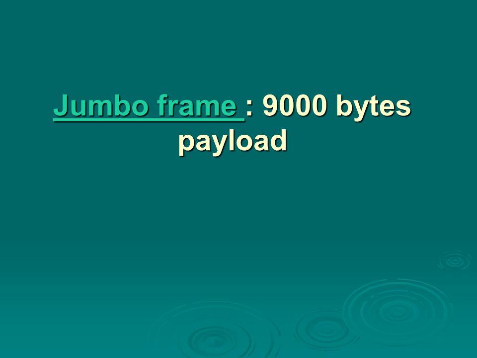 Jumbo frame : 9000 bytes payload