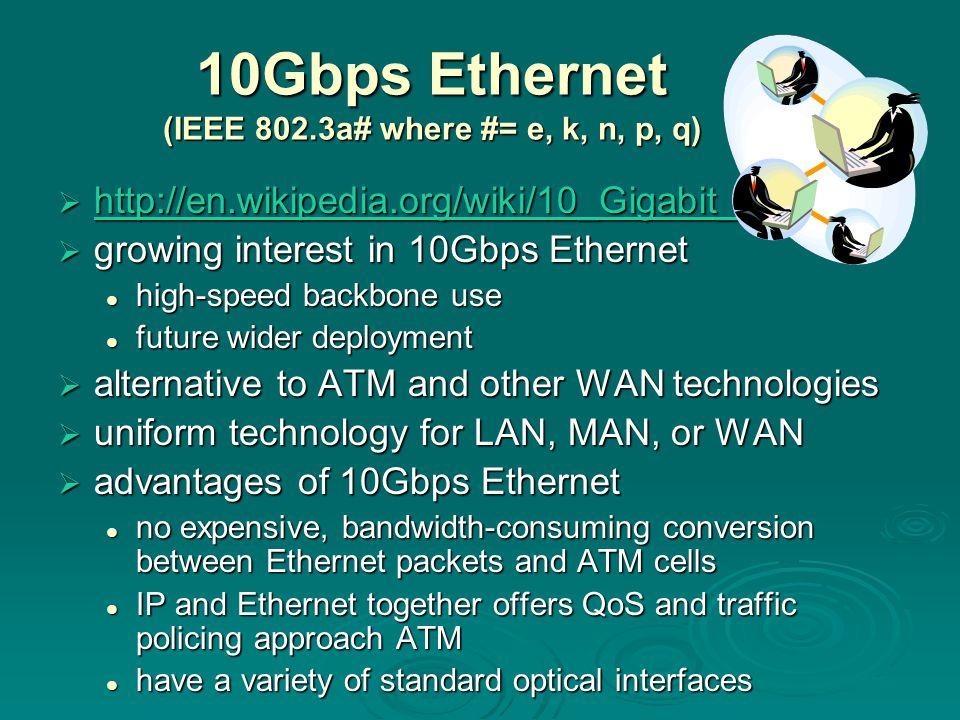 10Gbps Ethernet (IEEE 802.3a# where #= e, k, n, p, q)