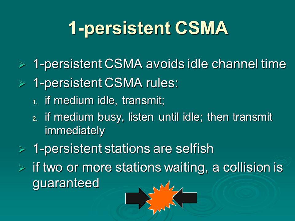 1-persistent CSMA 1-persistent CSMA avoids idle channel time
