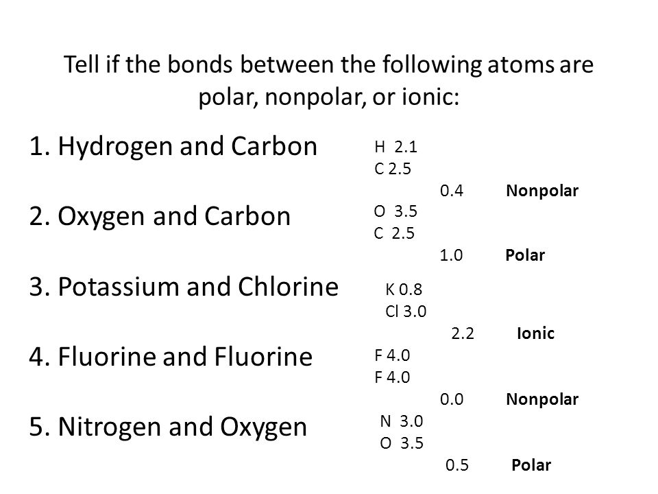 3. Potassium and Chlorine 4. Fluorine and Fluorine