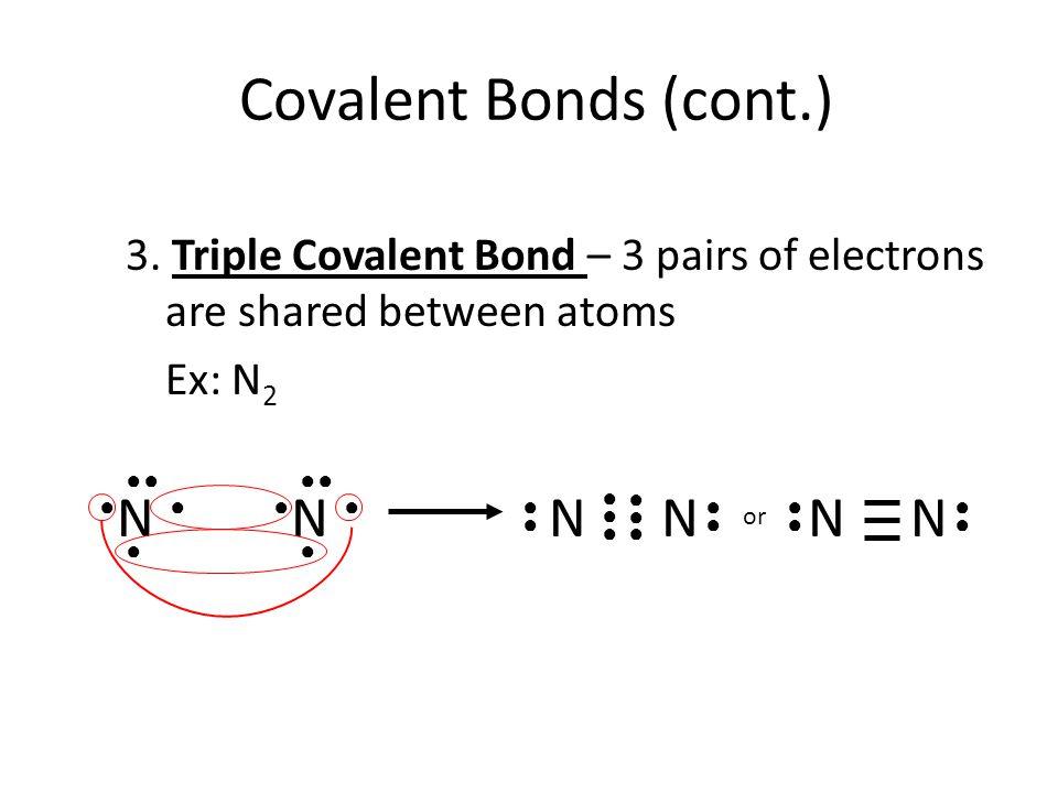 Covalent Bonds (cont.) N N N N N N
