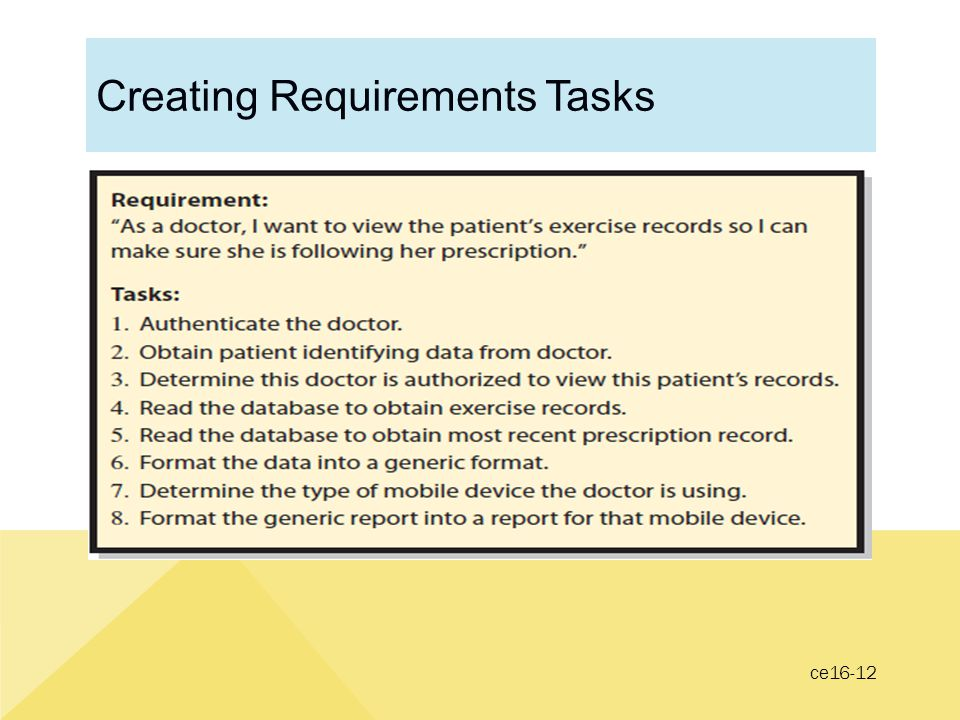 Creating Requirements Tasks