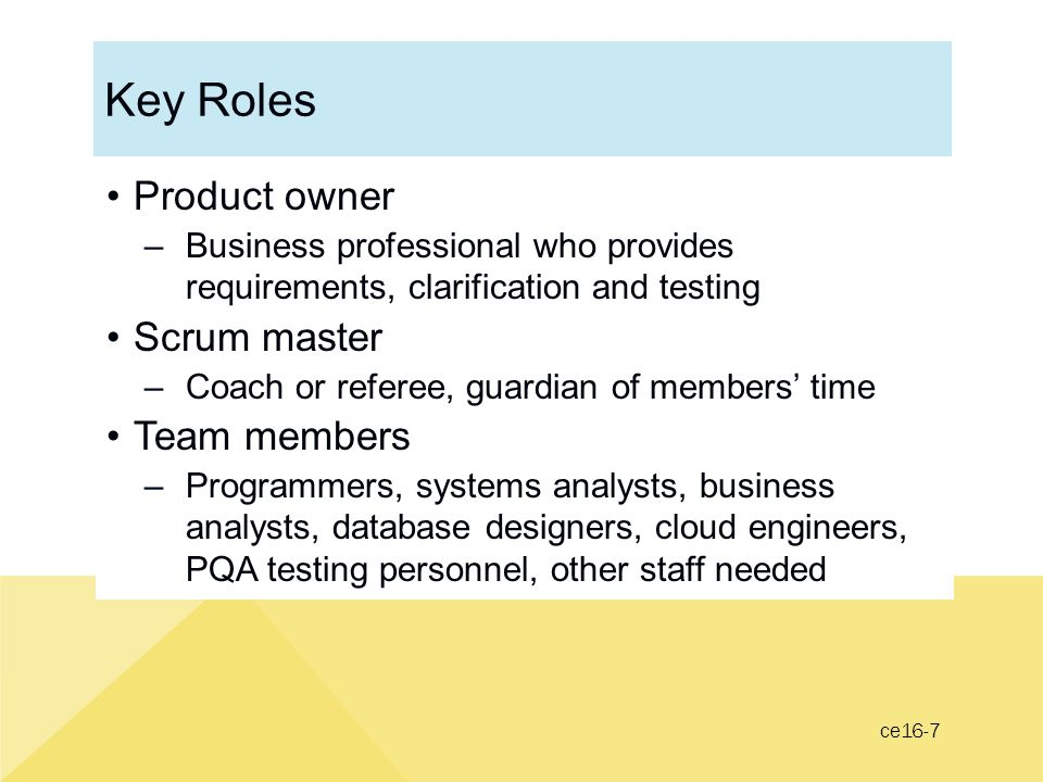 Key Roles Product owner Scrum master Team members