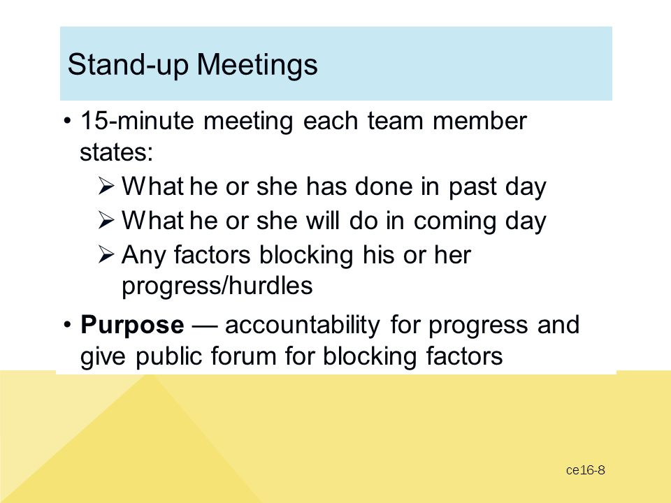 Stand-up Meetings 15-minute meeting each team member states: