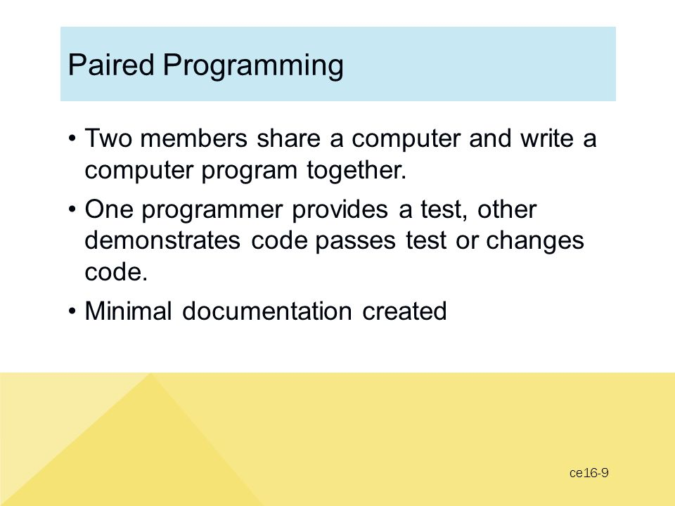 Paired Programming Two members share a computer and write a computer program together.