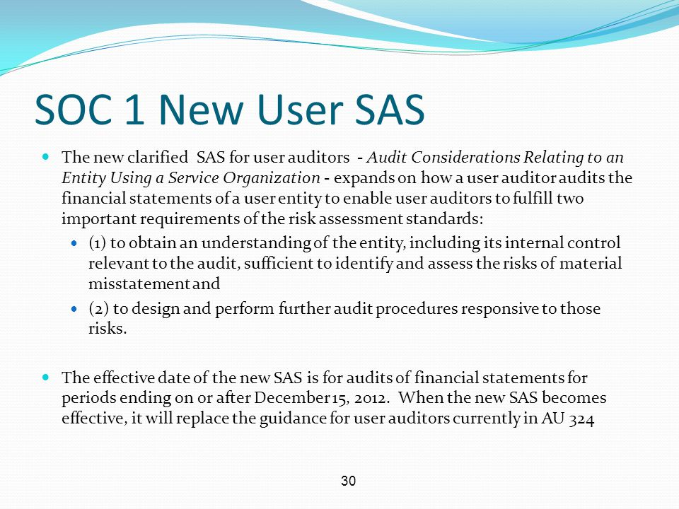 SOC 1 New User SAS