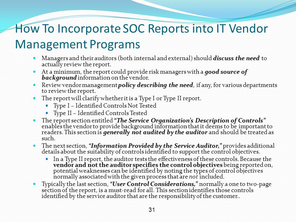 How To Incorporate SOC Reports into IT Vendor Management Programs