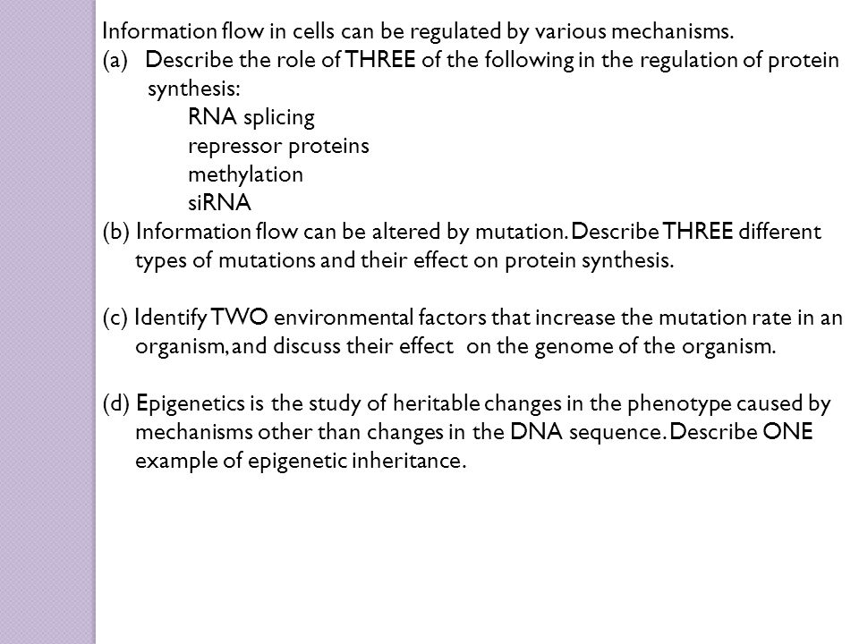 Information flow in cells can be regulated by various mechanisms.