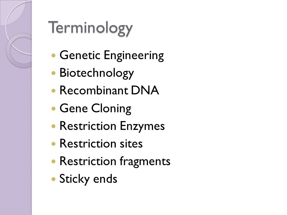Terminology Genetic Engineering Biotechnology Recombinant DNA