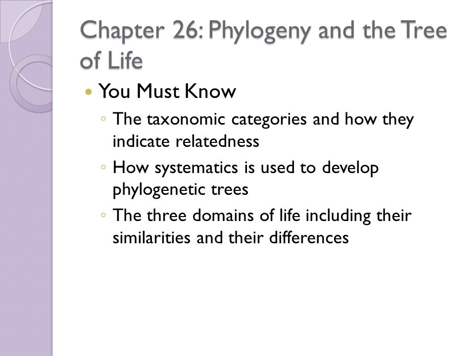 Chapter 26: Phylogeny and the Tree of Life