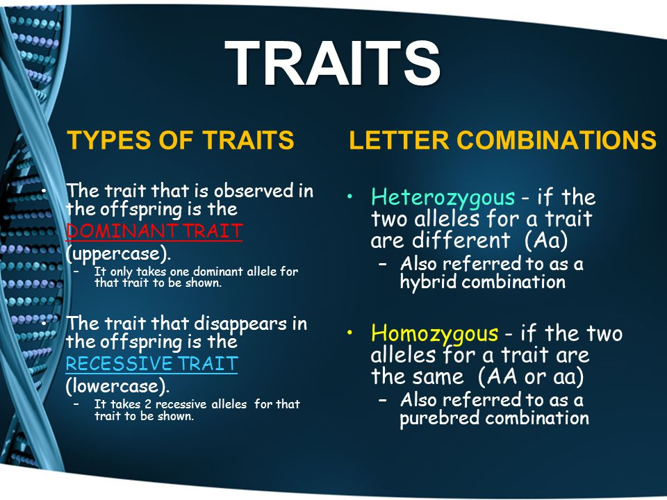 TRAITS TYPES OF TRAITS LETTER COMBINATIONS