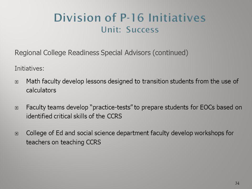 Division of P-16 Initiatives Unit: Success