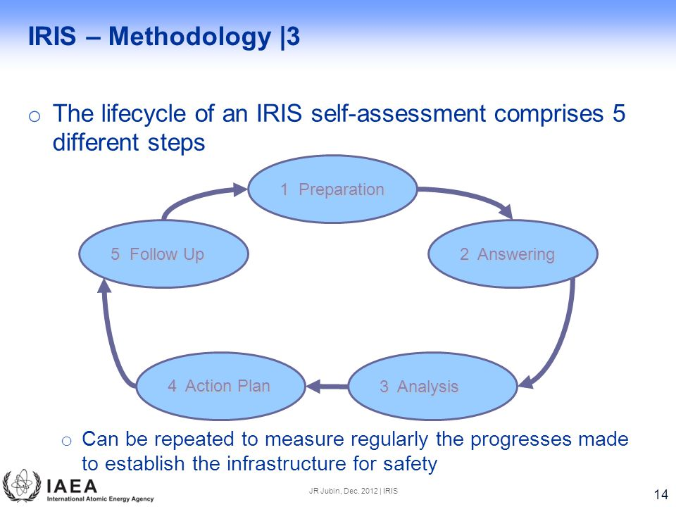 IRIS – Methodology |3 The lifecycle of an IRIS self-assessment comprises 5 different steps.