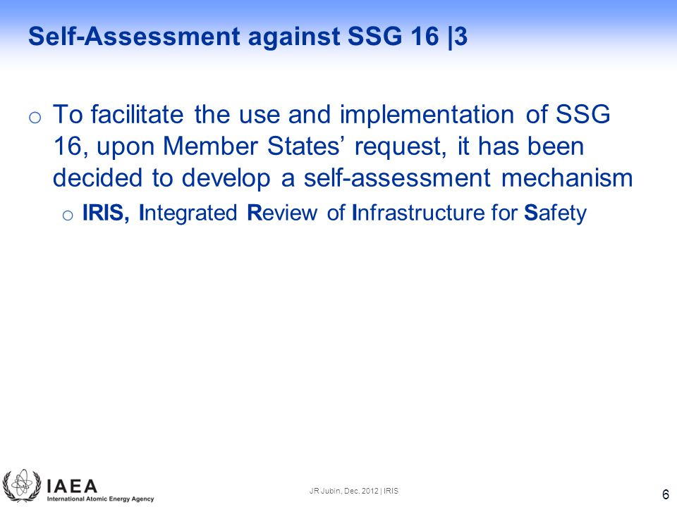Self-Assessment against SSG 16 |3