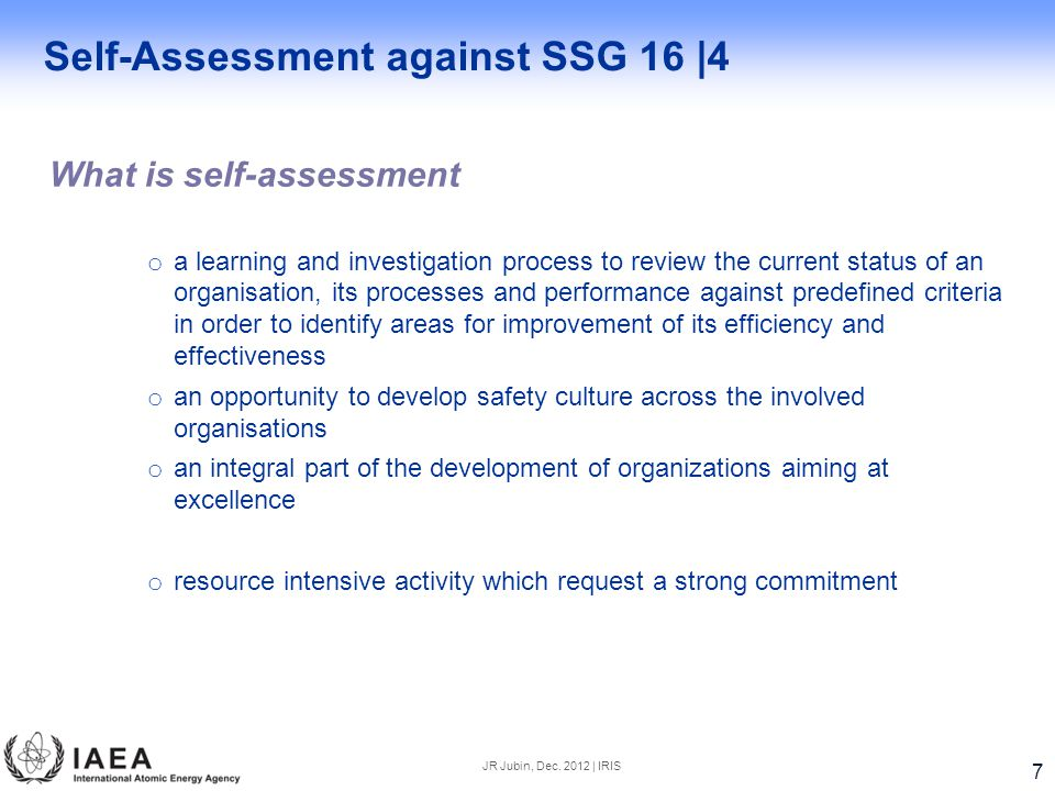 Self-Assessment against SSG 16 |4