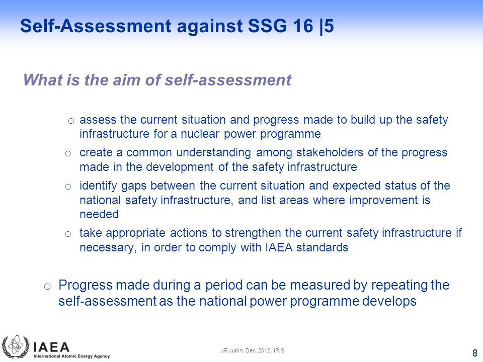 Self-Assessment against SSG 16 |5