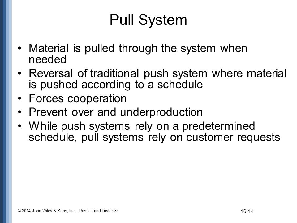 Pull System Material is pulled through the system when needed