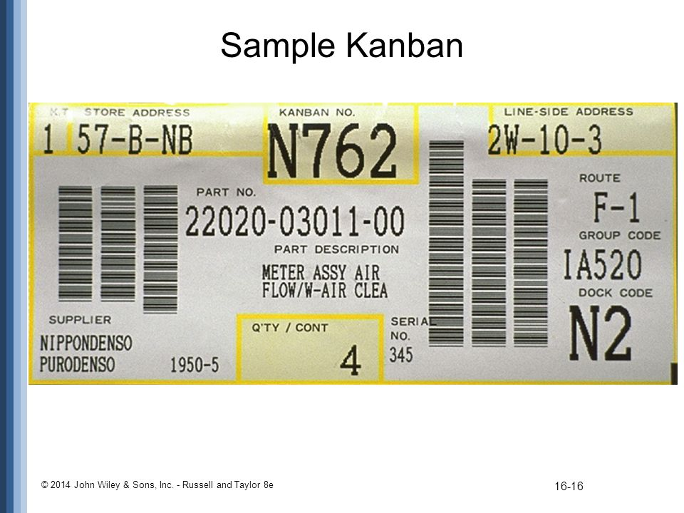 Sample Kanban © 2014 John Wiley & Sons, Inc. - Russell and Taylor 8e