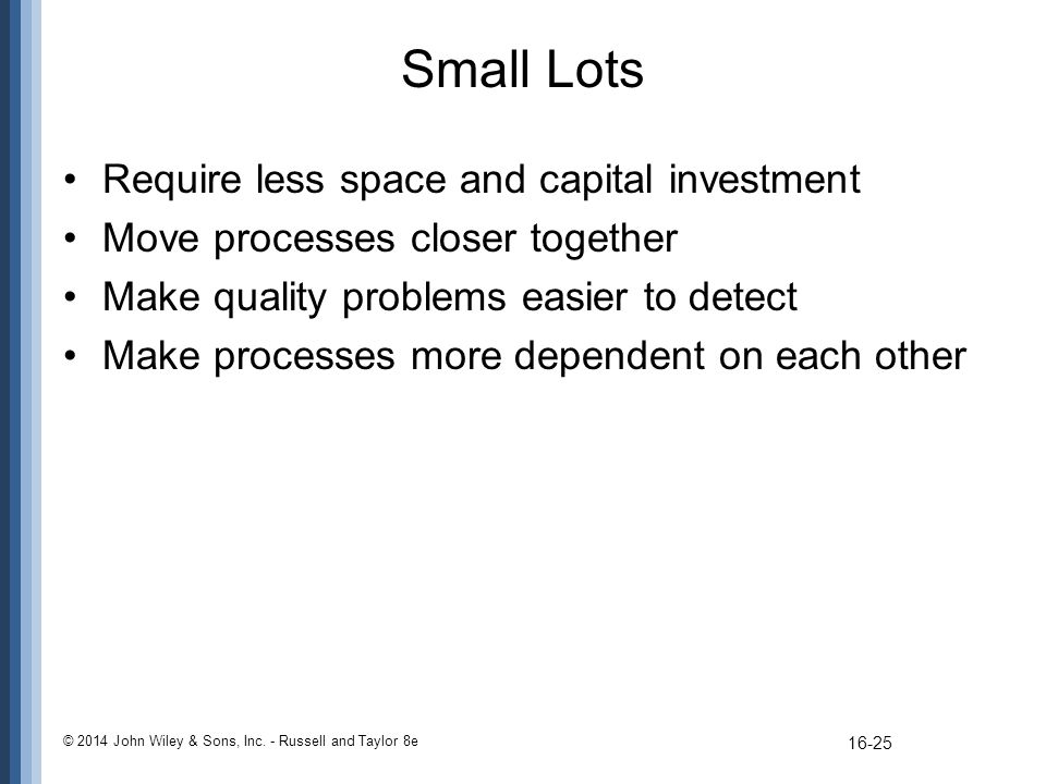 Small Lots Require less space and capital investment