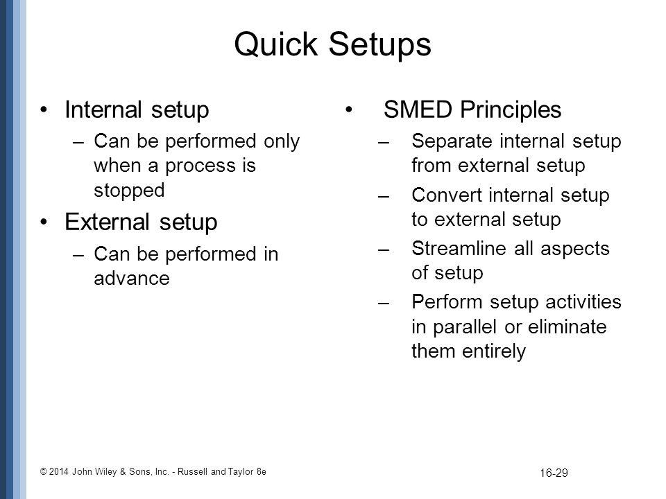 Quick Setups Internal setup External setup SMED Principles