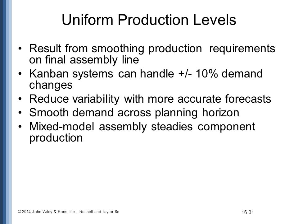 Uniform Production Levels