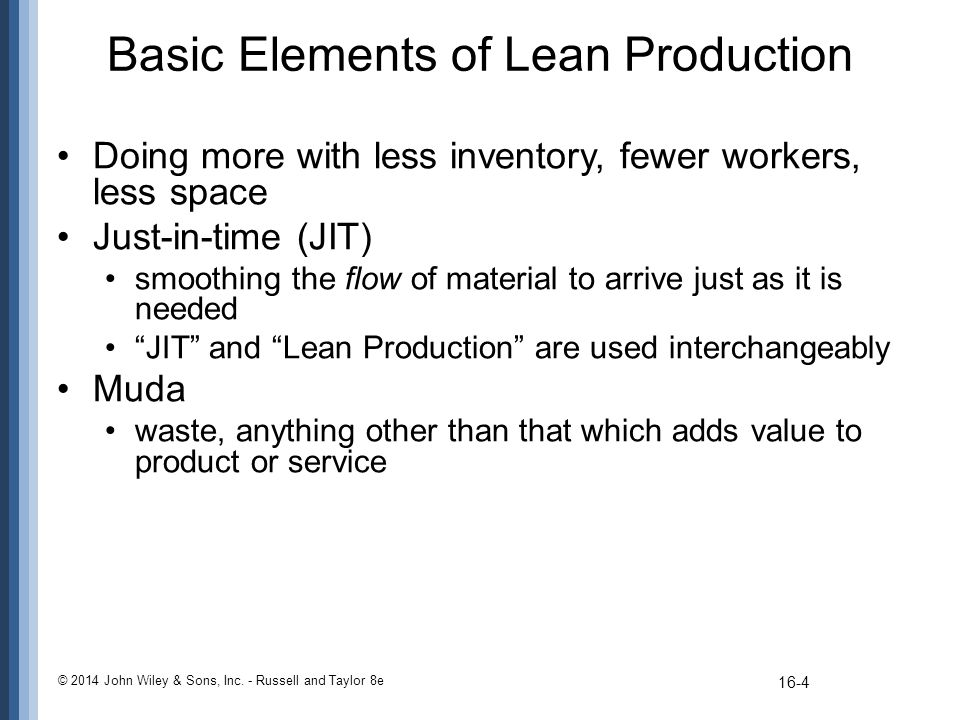 Basic Elements of Lean Production