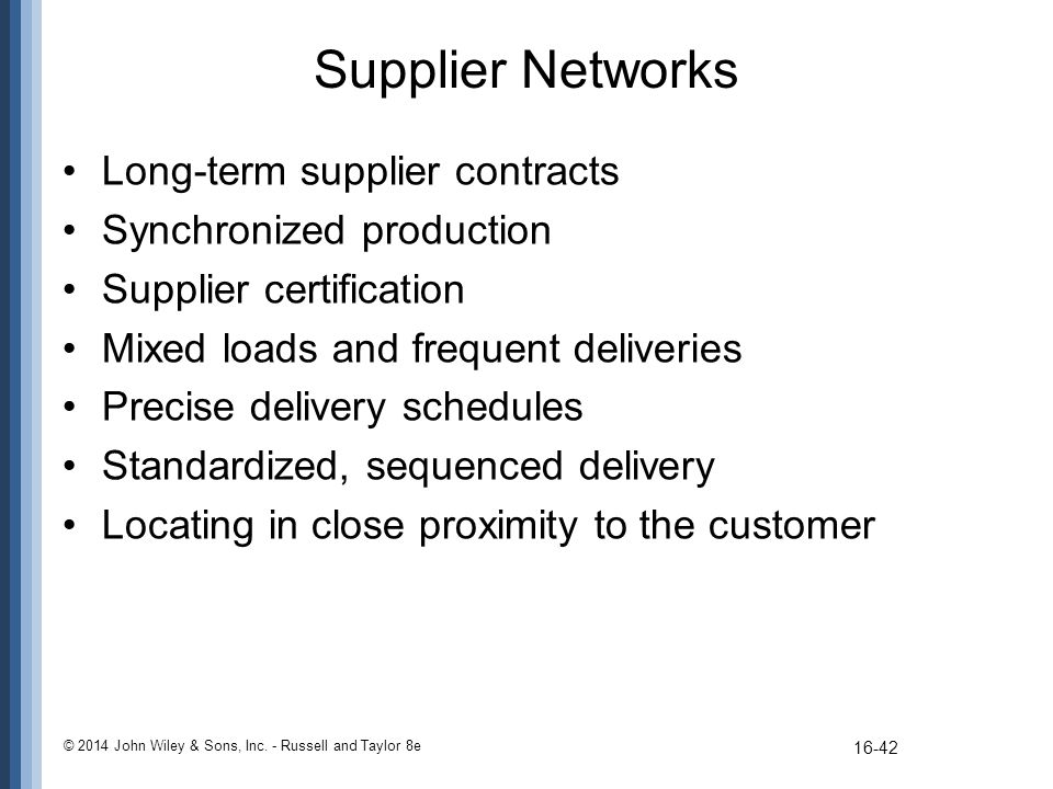 Supplier Networks Long-term supplier contracts Synchronized production