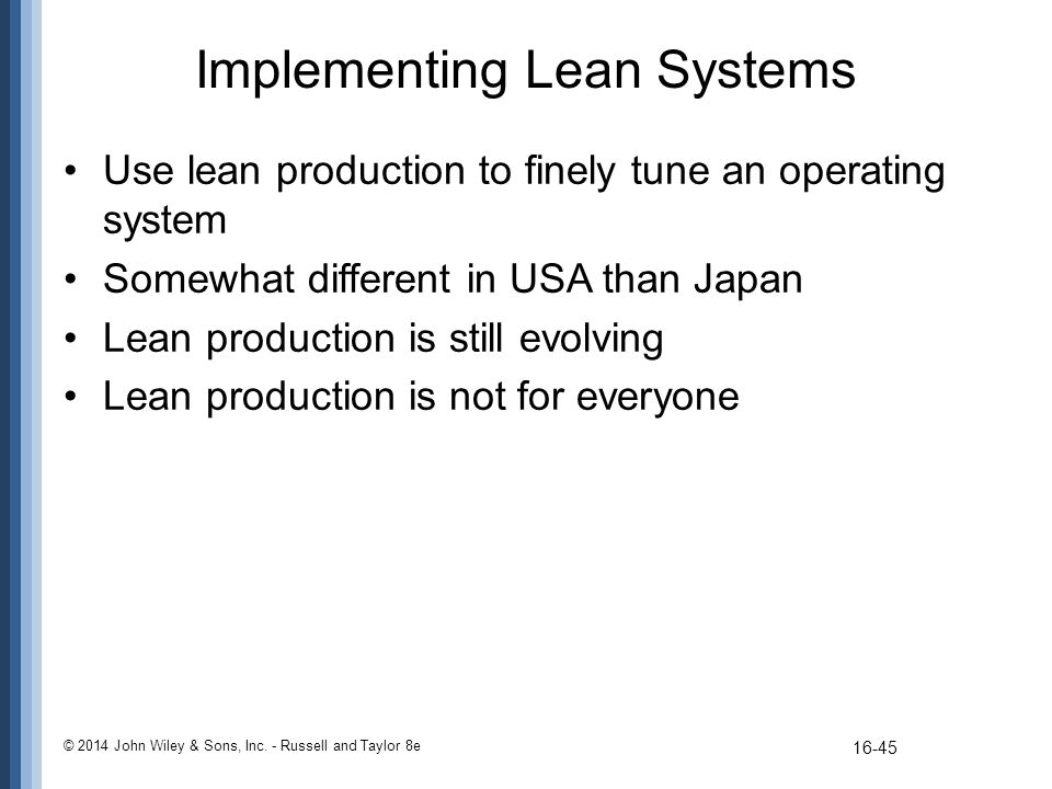 Implementing Lean Systems