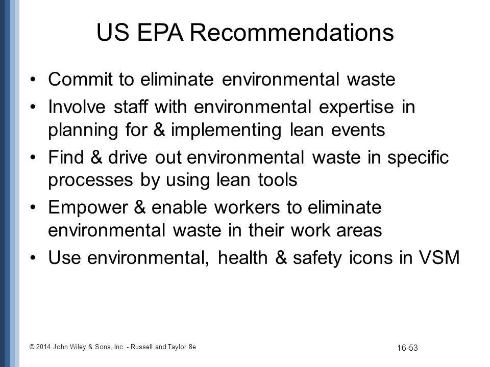 US EPA Recommendations