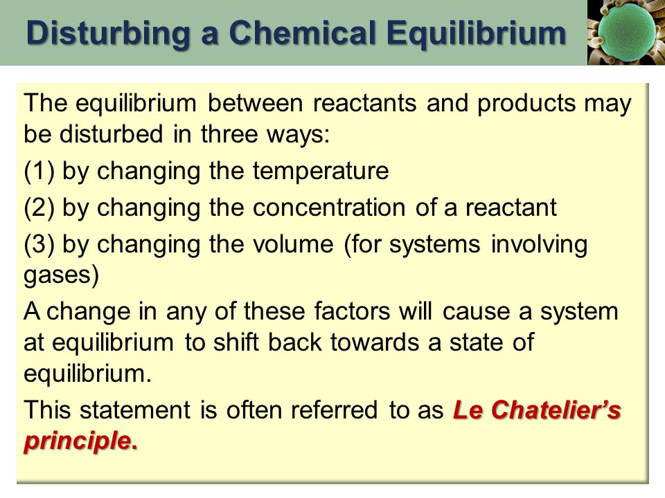 Disturbing a Chemical Equilibrium