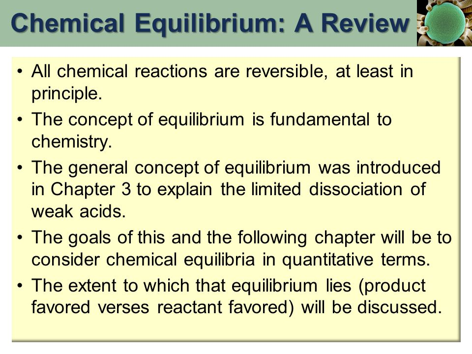 Chemical Equilibrium: A Review