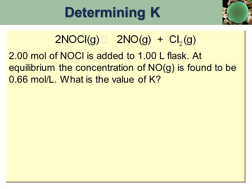 Determining K 2.00 mol of NOCl is added to 1.00 L flask.