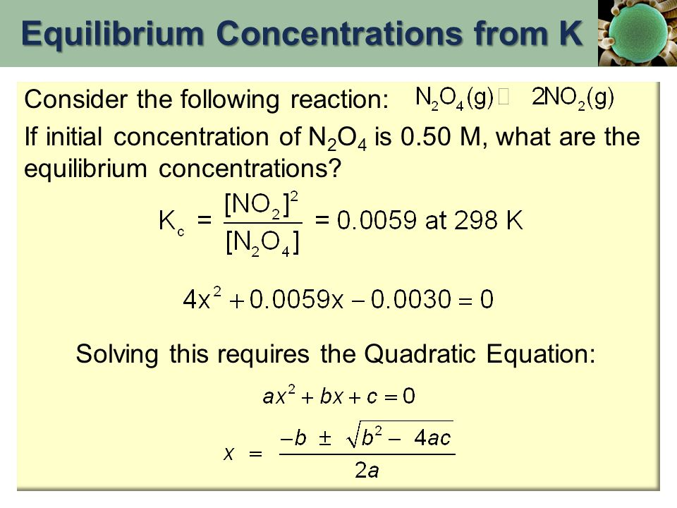 Equilibrium Concentrations from K